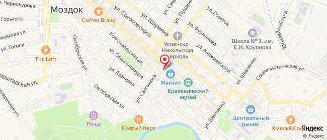 Карта расположения пункта доставки Билайн в городе Моздок
