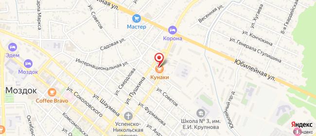 Карта расположения пункта доставки Моздок Салганюка в городе Моздок