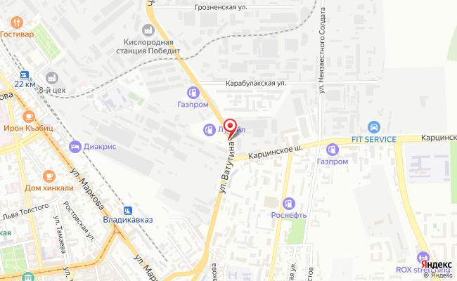 Карта расположения пункта доставки DPD Pickup в городе Владикавказ