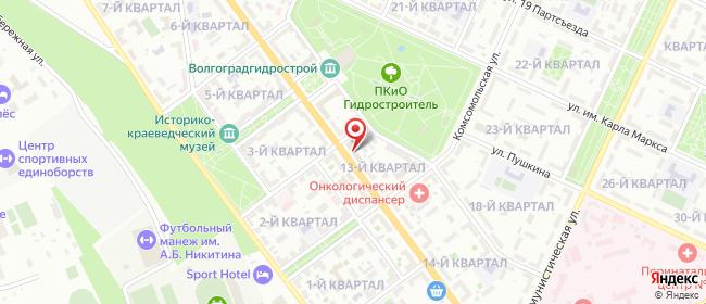 Карта расположения пункта доставки Ростелеком в городе Волжский