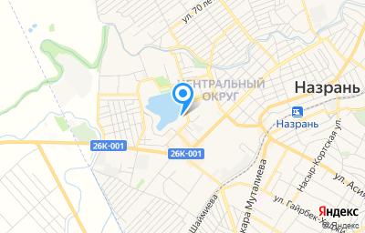 Местоположение на карте пункта техосмотра по адресу Респ Ингушетия, г Назрань, тер Центральный округ, ул Фабричная, д 1