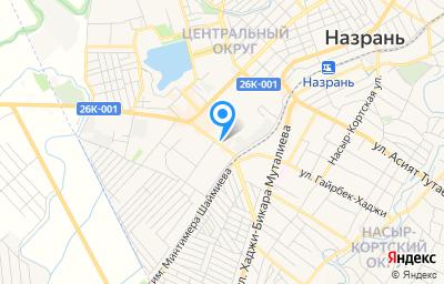 Местоположение на карте пункта техосмотра по адресу Респ Ингушетия, г Назрань, тер Центральный округ, ул Чеченская, зд 9