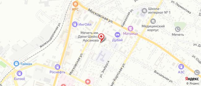 Карта расположения пункта доставки Билайн в городе Назрань