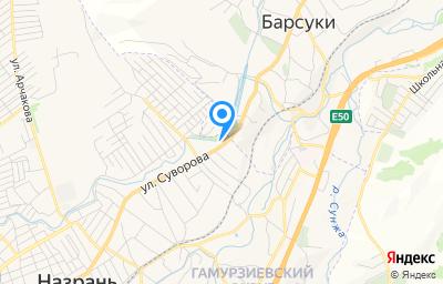 Местоположение на карте пункта техосмотра по адресу Респ Ингушетия, г Назрань, тер Гамурзиевский округ, ул Суворова, д 115М