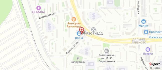 Карта расположения пункта доставки Пенза Ладожская в городе Пенза