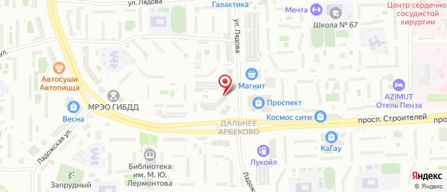 Карта расположения пункта доставки СИТИЛИНК в городе Пенза