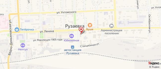 Карта расположения пункта доставки Ростелеком в городе Рузаевка