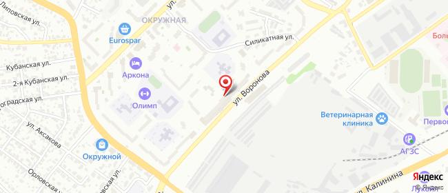 Карта расположения пункта доставки Пенза Воронова в городе Пенза