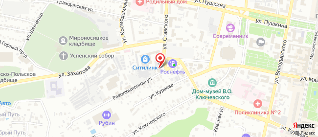 Карта расположения пункта доставки Пенза Ставского в городе Пенза