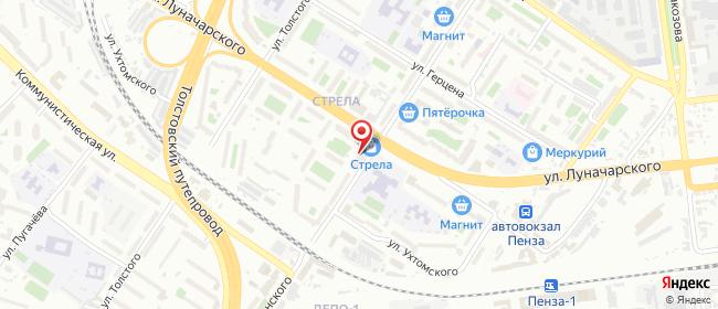 Карта расположения пункта доставки Пенза Луначарского в городе Пенза