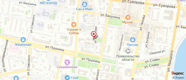 Карта расположения пункта доставки Пенза Гладкова в городе Пенза