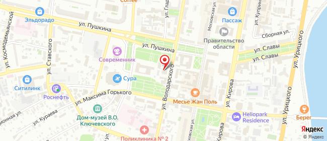 Карта расположения пункта доставки Халва в городе Пенза