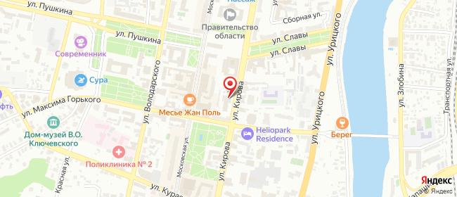 Карта расположения пункта доставки Ростелеком в городе Пенза