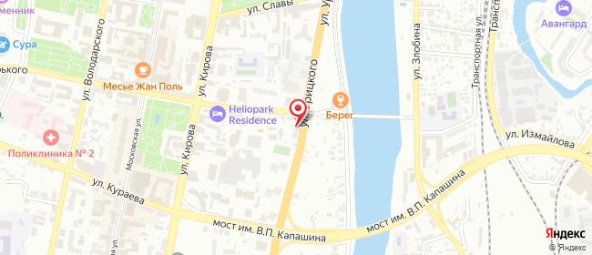 Карта расположения пункта доставки Пенза Урицкого в городе Пенза