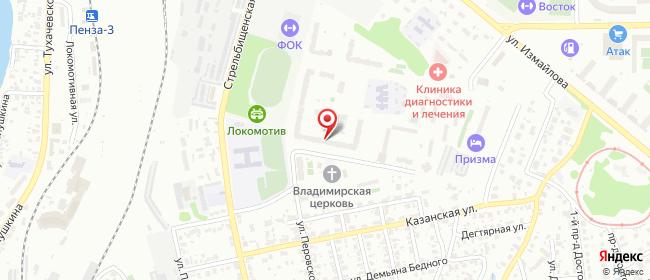 Карта расположения пункта доставки Пенза Ново-Казанская в городе Пенза