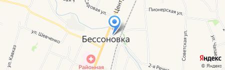 Киоск по продаже хлебобулочных изделий на карте Бессоновки