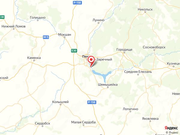 село Засечное на карте