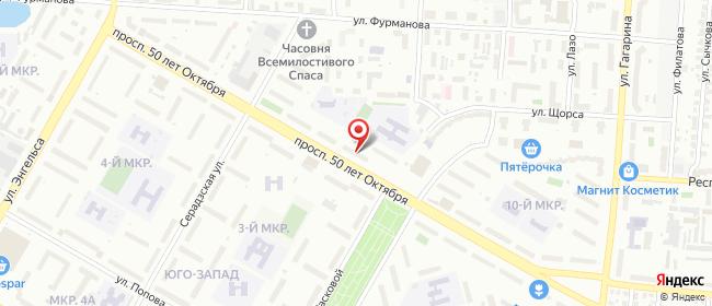 Карта расположения пункта доставки Саранск 50 лет Октября в городе Саранск
