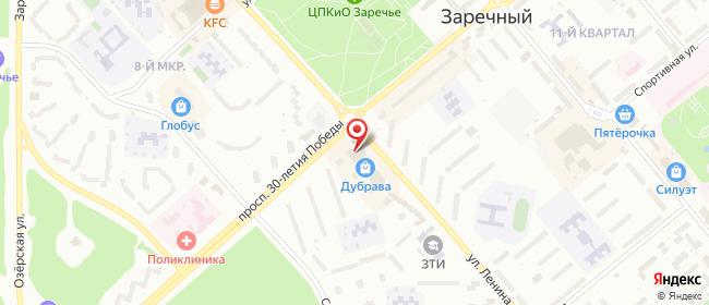 Карта расположения пункта доставки Пункт выдачи в городе Заречный