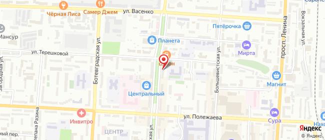 Карта расположения пункта доставки Саранск Пролетарская в городе Саранск