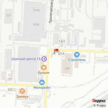 г. Саранск, ул. Пролетарская,121 на карта