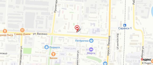 Карта расположения пункта доставки Саранск Васенко в городе Саранск