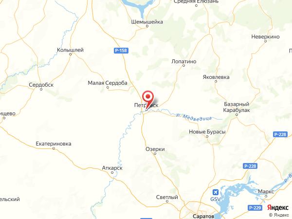 Петровск на карте