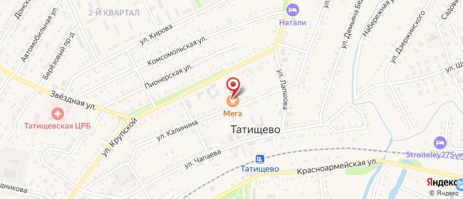 Карта расположения пункта доставки Татищево Калинина в городе Татищево
