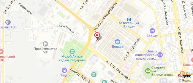 Карта расположения пункта доставки Билайн в городе Грозный