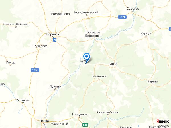 село Усть-Инза на карте