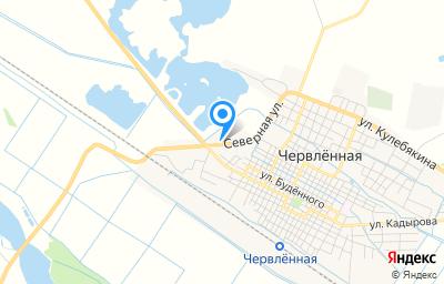 Местоположение на карте пункта техосмотра по адресу Респ Чеченская, Шелковской р-н, ст-ца Червленная, ул Северная, д 1Е