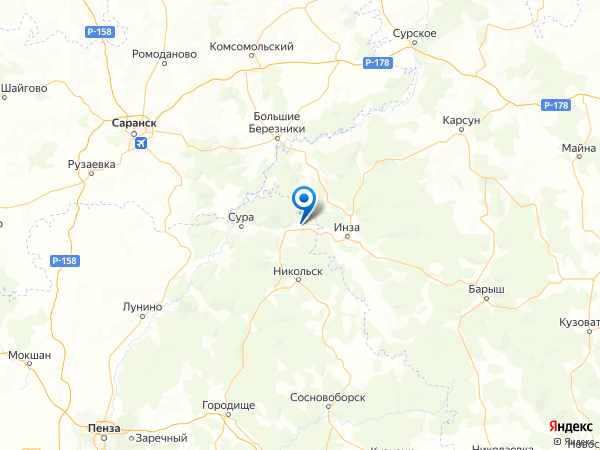 поселок Заречный на карте