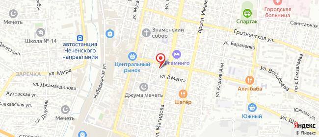 Карта расположения пункта доставки Пункт выдачи в городе Хасавюрт