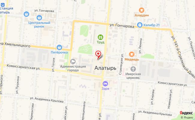 Карта расположения пункта доставки Халва в городе Алатырь