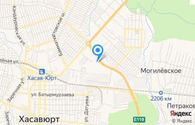 Местоположение на карте пункта техосмотра по адресу Респ Дагестан, г Хасавюрт, ул Бамовская, д 77