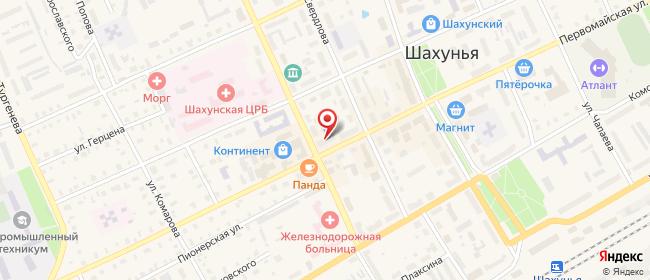 Карта расположения пункта доставки На Первомайская в городе Шахунья