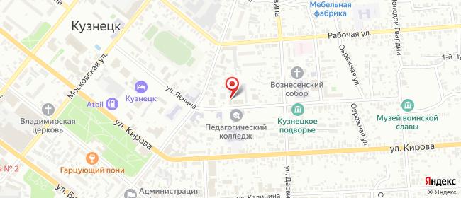 Карта расположения пункта доставки Ростелеком в городе Кузнецк