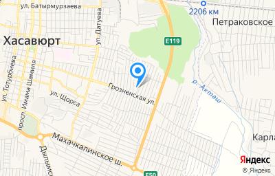 Местоположение на карте пункта техосмотра по адресу Респ Дагестан, г Хасавюрт, мкр Восточный, ул Рыбникова А.И., д 14
