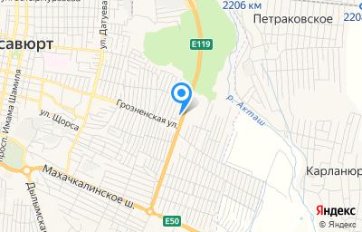 Местоположение на карте пункта техосмотра по адресу Респ Дагестан, г Хасавюрт, мкр Восточный, ул Рыбникова А.И., д 62