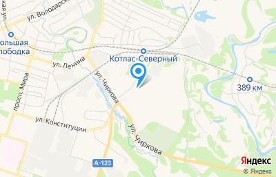 Местоположение на карте пункта техосмотра по адресу Архангельская обл, г Котлас, проезд Промышленный тупик, д 10 к 3