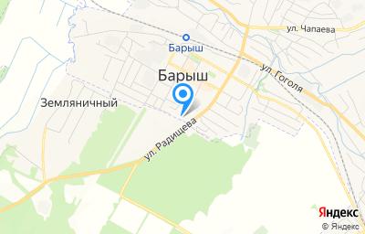 Местоположение на карте пункта техосмотра по адресу Ульяновская обл, Барышский р-н, г Барыш, ул Радищева, д 90