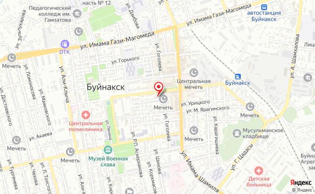 Карта расположения пункта доставки Пункт выдачи в городе Буйнакск