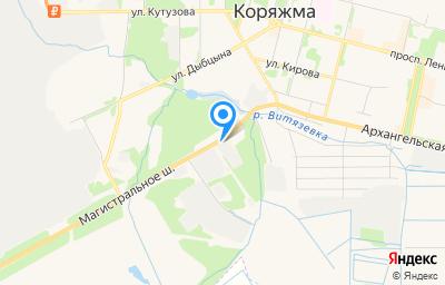 Местоположение на карте пункта техосмотра по адресу Архангельская обл, г Коряжма, дор Магистральное шоссе, д 15