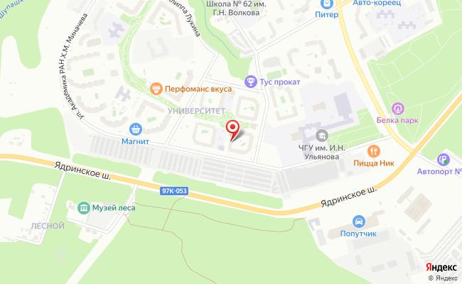 Карта расположения пункта доставки Чебоксары Университетская в городе Чебоксары