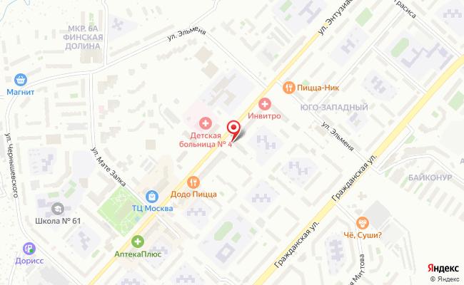 Карта расположения пункта доставки Чебоксары Энтузиастов в городе Чебоксары