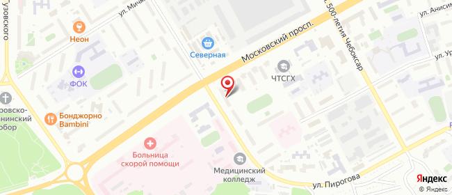 Карта расположения пункта доставки Чебоксары Московский в городе Чебоксары