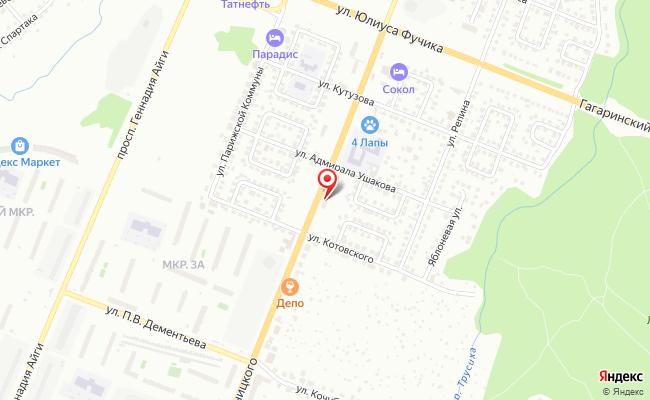 Карта расположения пункта доставки Чебоксары Б. Хмельницкого в городе Чебоксары