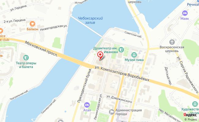 Карта расположения пункта доставки Чебоксары Композиторов Воробьевых в городе Чебоксары