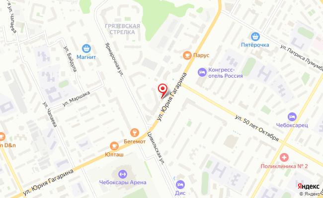 Карта расположения пункта доставки Чебоксары Гагарина в городе Чебоксары