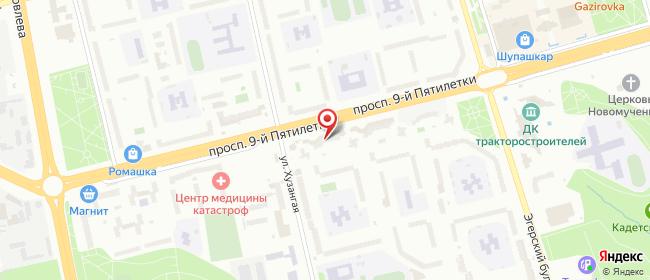 Карта расположения пункта доставки На проспекте 9-й Пятилетки в городе Чебоксары